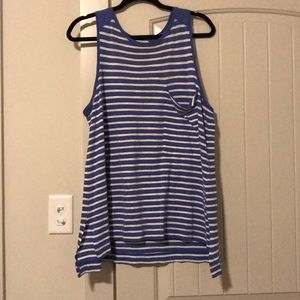 White and blue tank